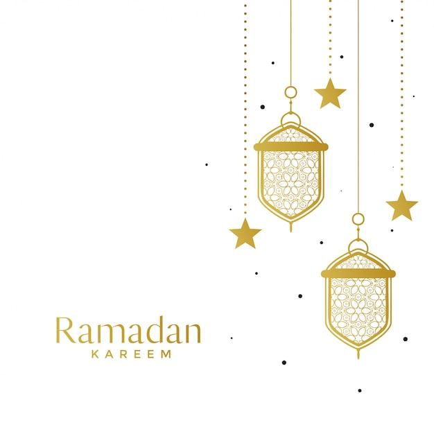 Lâmpadas islâmicas elegantes e fundo estrela ramadan Vetor grátis