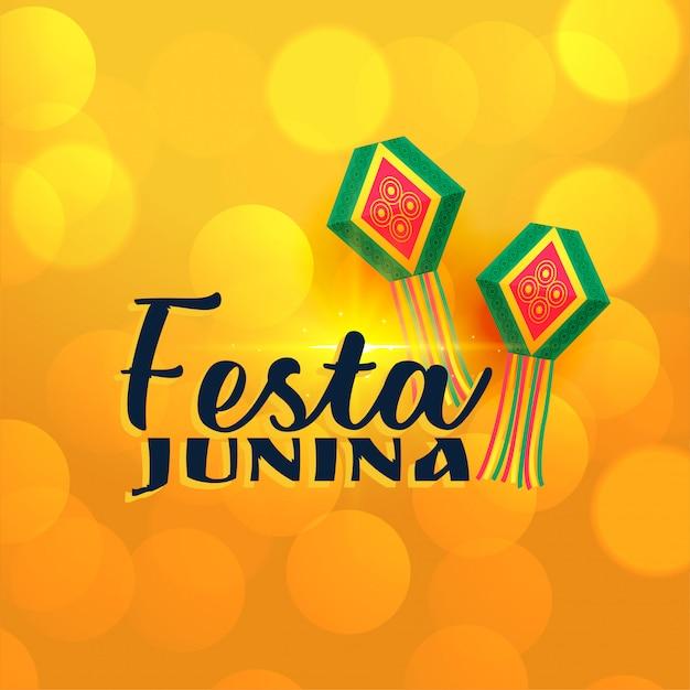 Lâmpadas junina de festa brilhante amarelo Vetor grátis