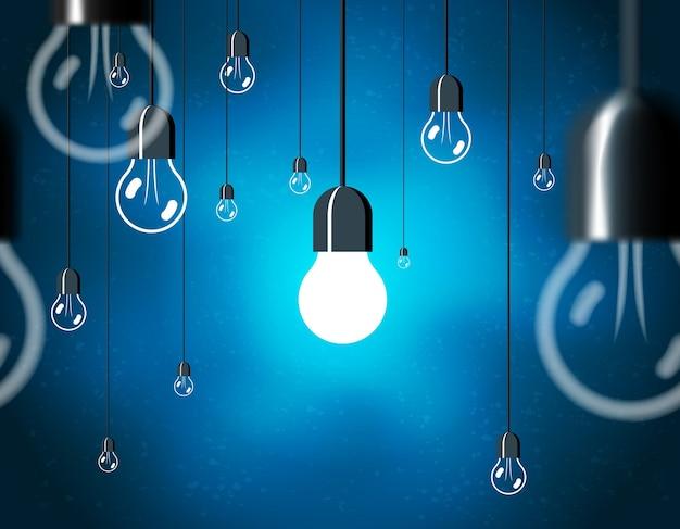 Lâmpadas, lâmpada elétrica pendurada no cabo Vetor grátis