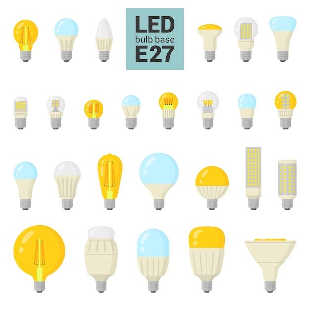 Lâmpadas led com base e27, ícone colorido em fundo branco Vetor Premium
