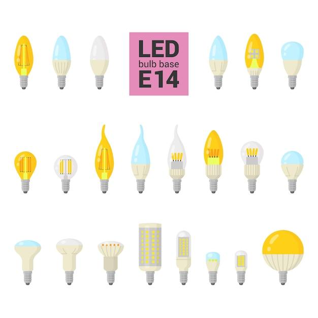 Lâmpadas led com base, ícone colorido em fundo branco Vetor Premium