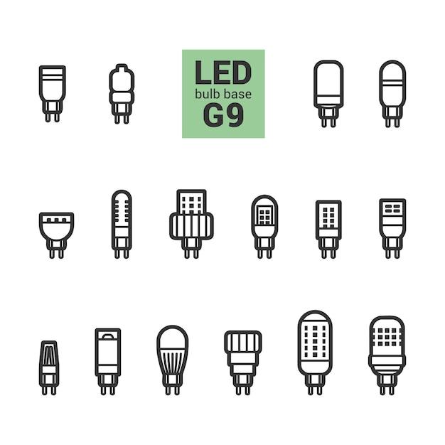 Lâmpadas led delinear um conjunto de ícones Vetor Premium