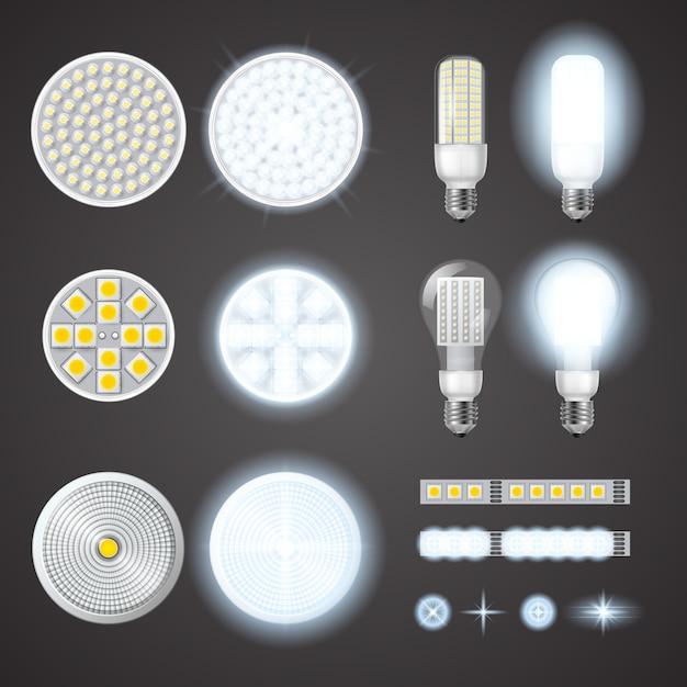 Lâmpadas led e conjunto de efeitos de luzes Vetor grátis