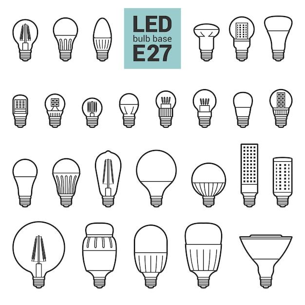 Lâmpadas led e27 delinear um conjunto de ícones Vetor Premium
