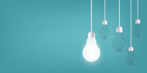 Lâmpadas no fundo, lâmpada led. Vetor Premium