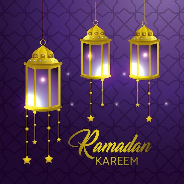Lâmpadas penduradas com estrelas para ramadan kareem Vetor grátis