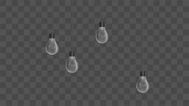 Lâmpadas realistas. lustre de estilo loft. elemento de design de interiores. ilustração. Vetor Premium