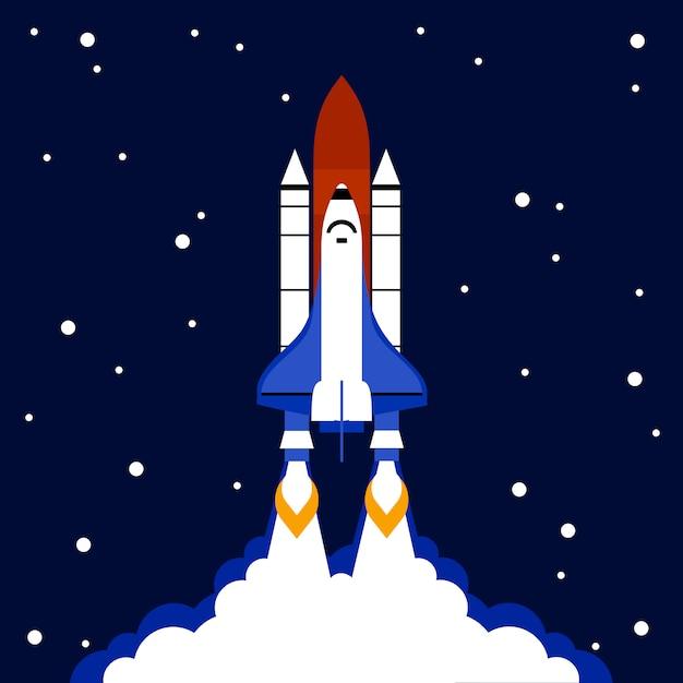 Lançamento, conceito, espaço, foguete, fundo Vetor grátis