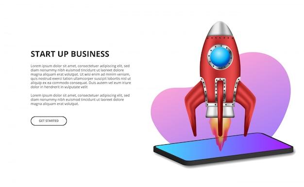 Lançamento de foguete 3d para iniciar produtos comerciais Vetor Premium
