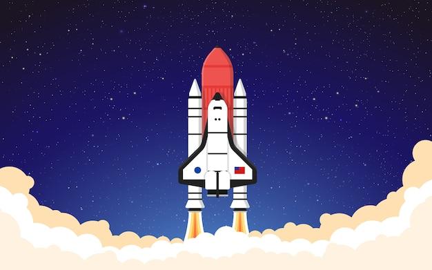 Lançamento de foguete dark sky nave espacial decolando ilustração fundo papel de parede vetor Vetor Premium