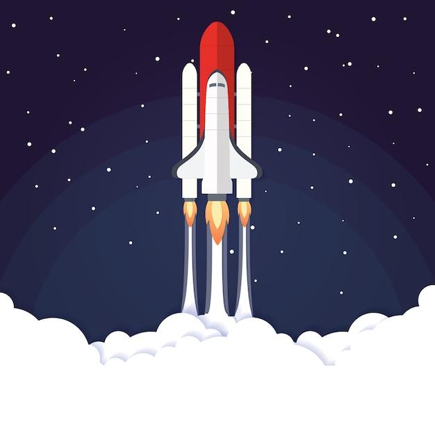 Lançamento de foguete de conceito de ilustração vetorial Vetor Premium