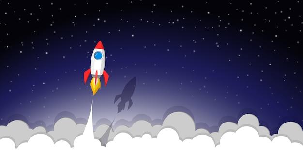 Lançamento de foguete espacial para o céu noturno Vetor Premium