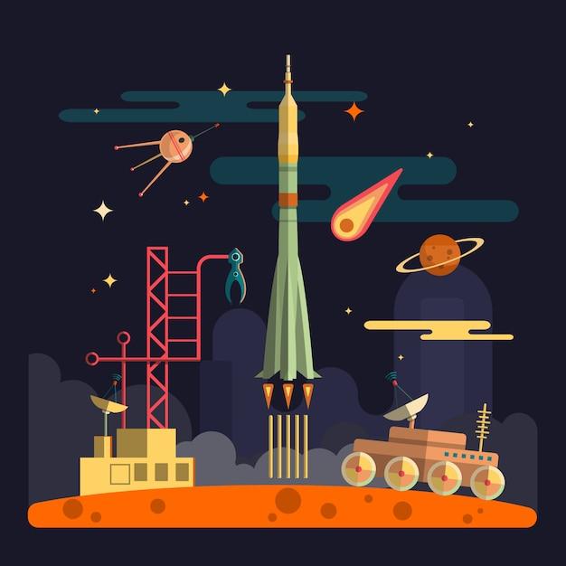 Lançamento de foguete na paisagem do espaço. planetas, satélite, estrelas, moon rover, cometas, lua, nuvens. ilustração vetorial no design de estilo simples. Vetor Premium