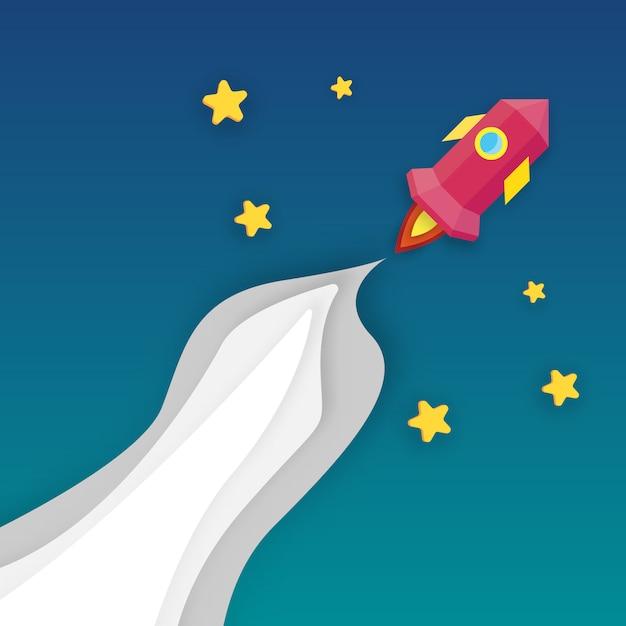 Lançamento de foguete no espaço infinito. conceito de arranque e crescimento de negócios. arte de papel e tema de artesanato digital. Vetor Premium