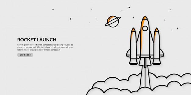 Lançamento de foguete para o espaço banner Vetor Premium