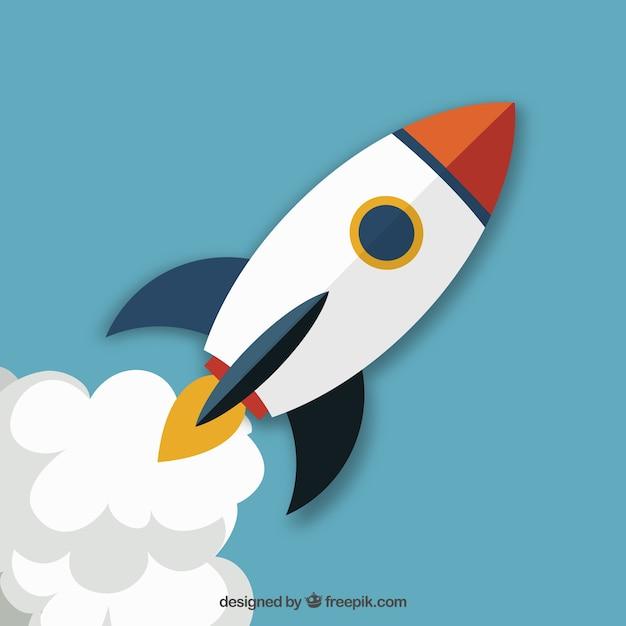 Lançamento do foguete startup Vetor grátis