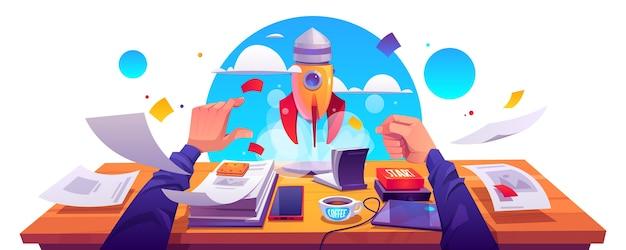 Lançamento do projeto de inicialização, realização da ideia de inovação empresarial, desenvolvimento. foguete decolar com nuvem de fumaça do local de trabalho com documentos, botão de arranque de mão masculina, ilustração vetorial dos desenhos animados. Vetor grátis