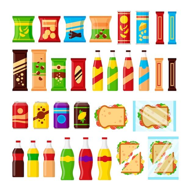 Lanche conjunto de produtos para a máquina de venda automática. lanches de fast-food, bebidas, nozes, batatas fritas, biscoito, suco, sanduíche para bar de máquina de fornecedor isolado no fundo branco. ilustração plana em Vetor Premium