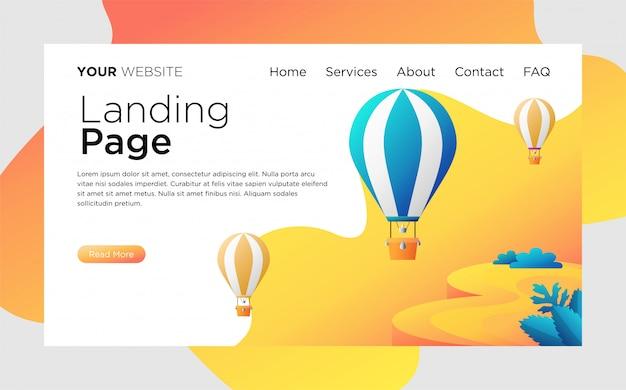 Landing page com balões de ar quente Vetor Premium