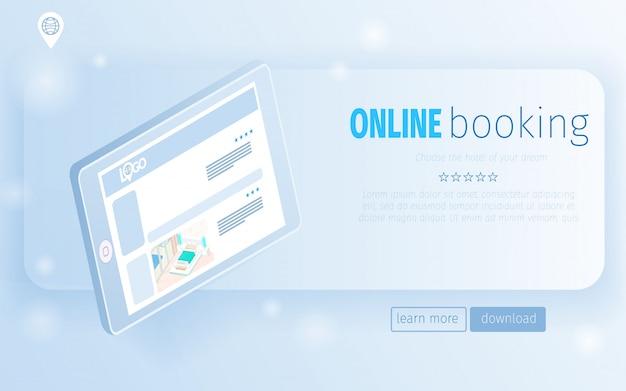 Landing page computador tablet digital com ofertas de quartos de hotel Vetor Premium