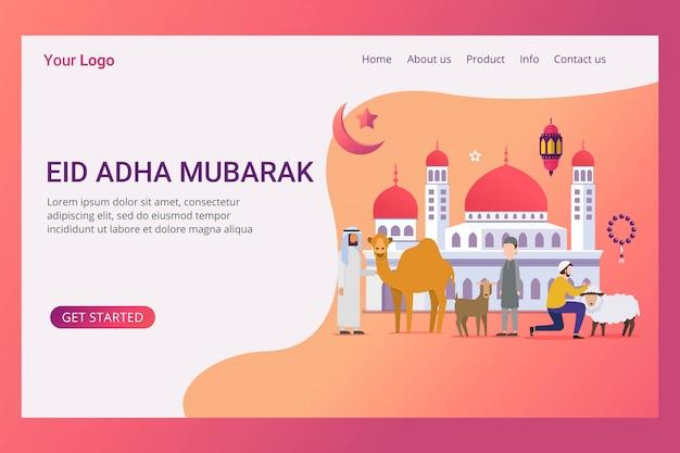 Landing page hajj e umrah conceito de design Vetor Premium