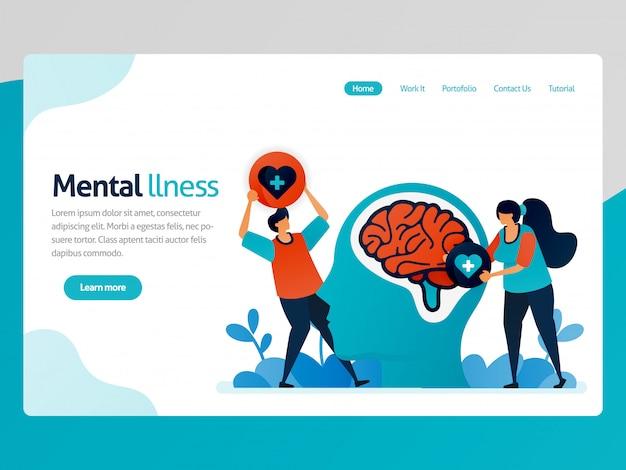 Landing page ilustração de doença mental. as pessoas adoram problemas no cérebro. terapia de saúde para pessoas problemáticas. cura e tratamento mentais. Vetor Premium