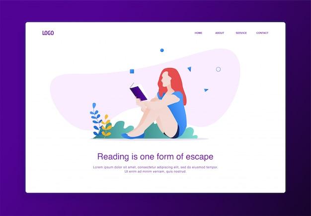 Landing page ilustração de mulheres lendo um livro sentado no chão Vetor Premium