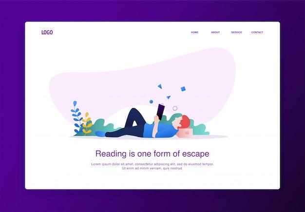 Landing page ilustração do homem lendo um livro Vetor Premium