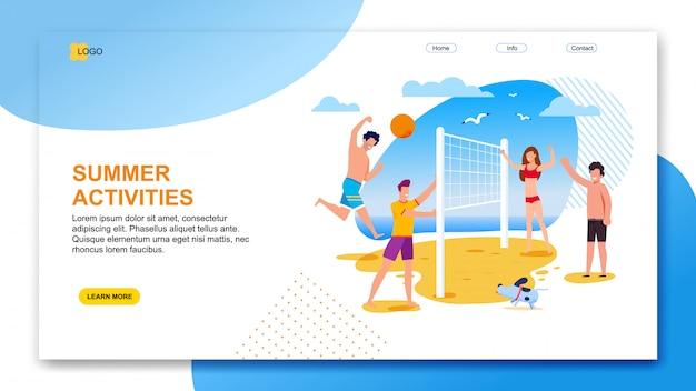 Landing page oferece atividades de verão para a organização Vetor Premium