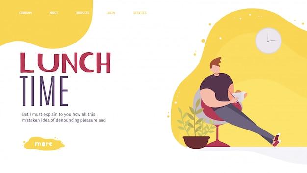 Landing page oferecendo o melhor almoço no local de trabalho Vetor Premium