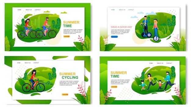 Landing page set advertising saudável e ativa férias de verão Vetor Premium