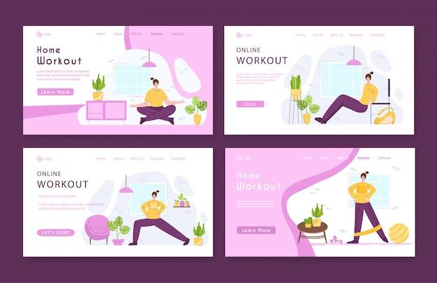 Landing page template definir mulher fazendo esportes exercícios e ioga em casa. Vetor Premium