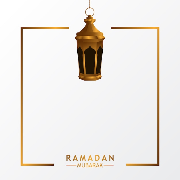 Lanterna de luxo com fundo branco para evento islâmico Vetor Premium