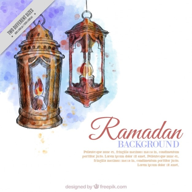 Lanternas aquarela fundo ramadan Vetor grátis