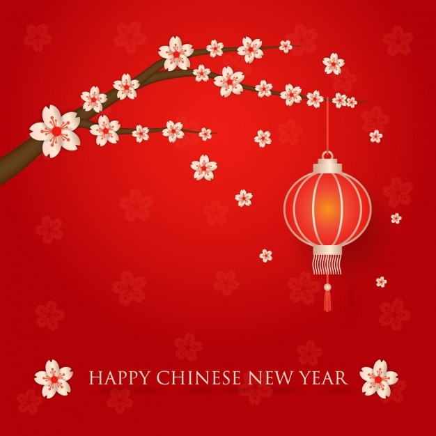 lanternas chinesas pendurado em uma árvore Vetor grátis