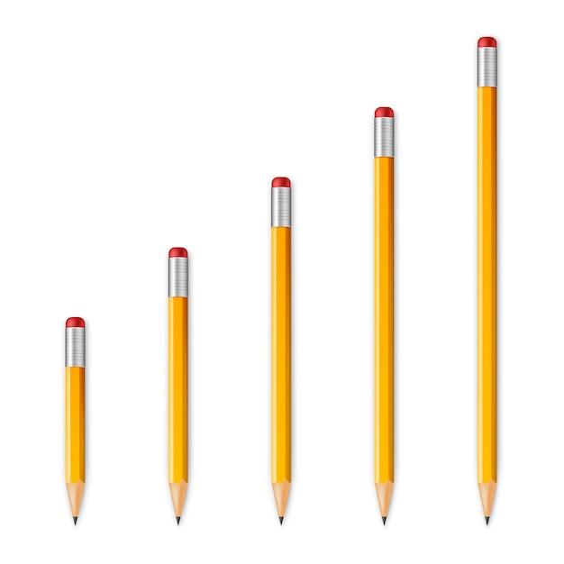 Lápis afiados de madeira amarelos Vetor Premium