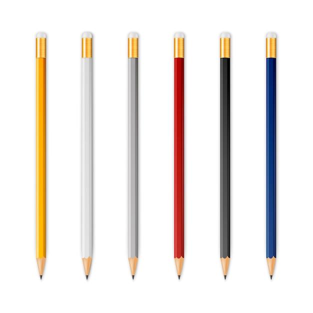 Lápis afiados de madeira Vetor Premium