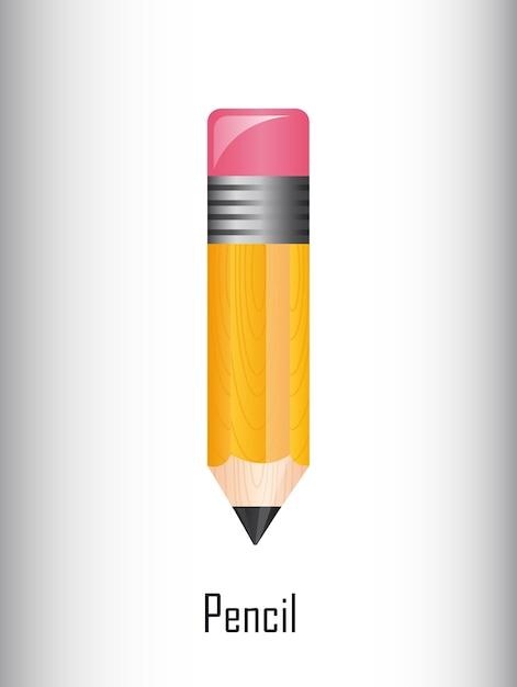 Lápis bonito sobre ilustração vetorial de fundo cinza Vetor Premium