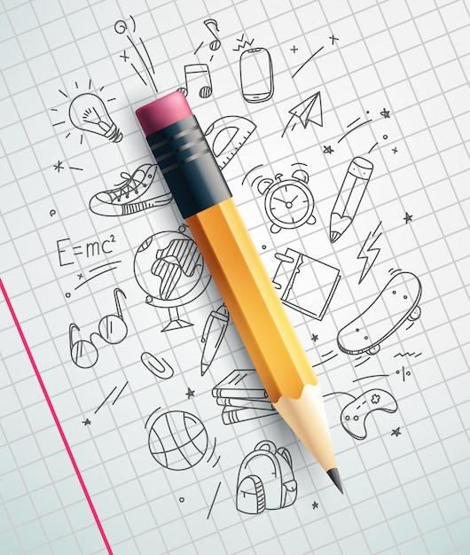 Lápis clássico, conceito de educação Vetor Premium