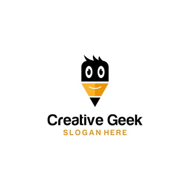 Lápis criativo geek logo Vetor Premium