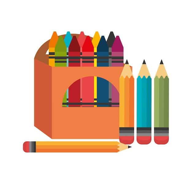 Lápis de cera caixa quatro lápis gráfico Vetor Premium