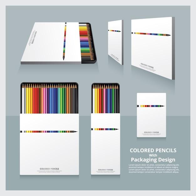 Lápis de cor com design de embalagem realista Vetor Premium