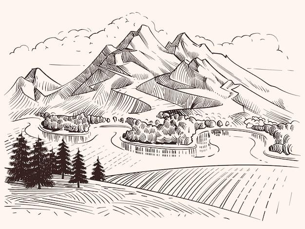 Lápis de desenho de paisagem de montanha. as montanhas e os abeto do esboço dos desenhos animados vector a ilustração. montanha de esboço de paisagem, árvore e colina de pico Vetor Premium