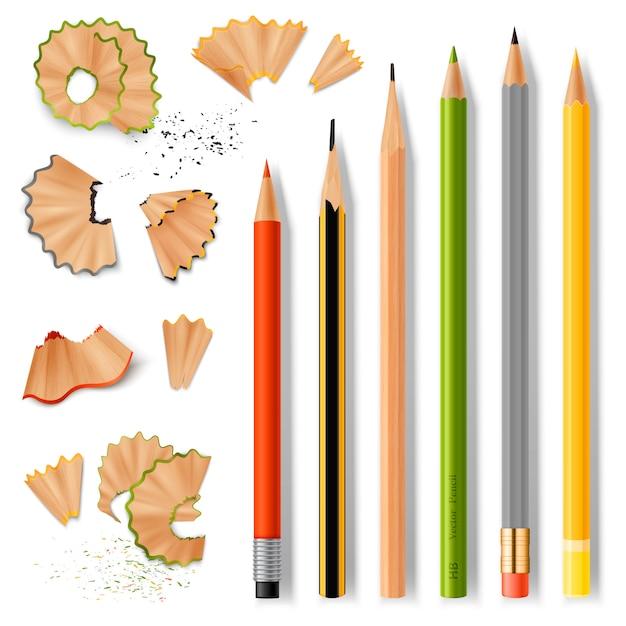 Lápis de madeira afiados e aparas Vetor grátis