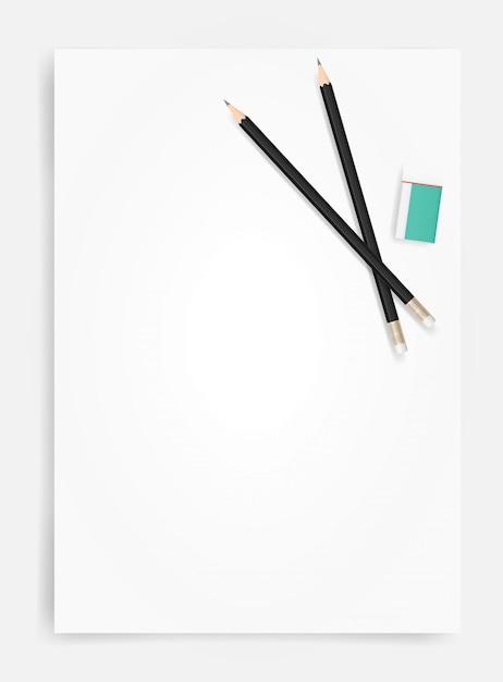 Lápis e borracha em fundo de folha de papel branco Vetor Premium