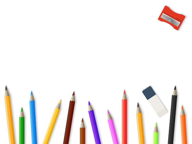 Lápis realista lápis apontador borracha fundo - desenho modelo de maquete Vetor Premium