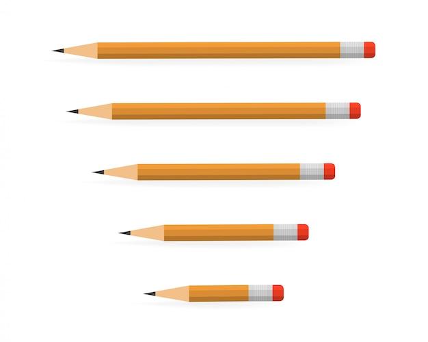 Lápis vários comprimento em branco Vetor Premium