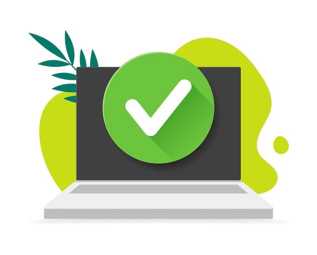Laptop com a marca de seleção no rabisco de pano de fundo e folhas. ilustração. ícone de segurança. escolha aprovada, tarefa concluída, atualizado ou download concluído, aceitar ou aprovar marca de seleção. Vetor Premium