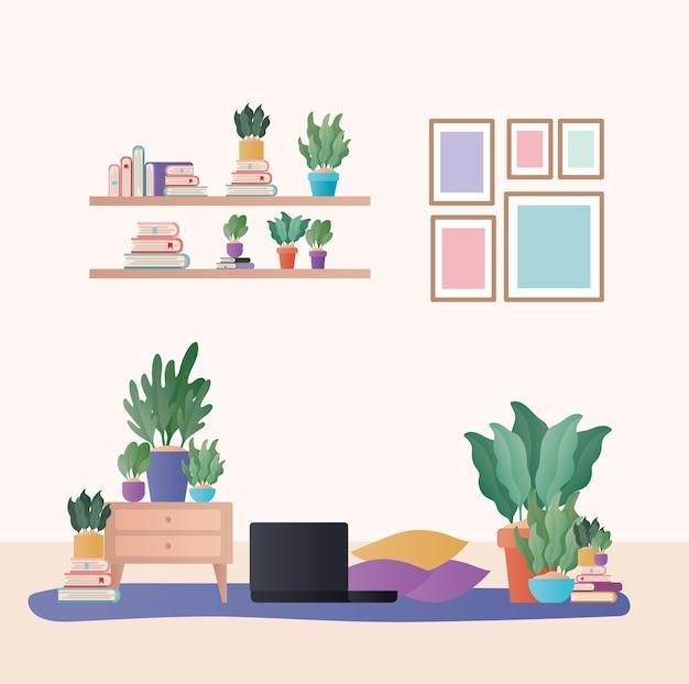 Laptop com almofadas e plantas em design de sala de estar, decoração de interiores, apartamento em prédio residencial e Vetor Premium