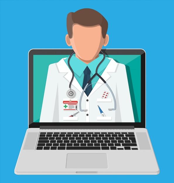 Laptop com aplicativo de farmácia na internet Vetor Premium